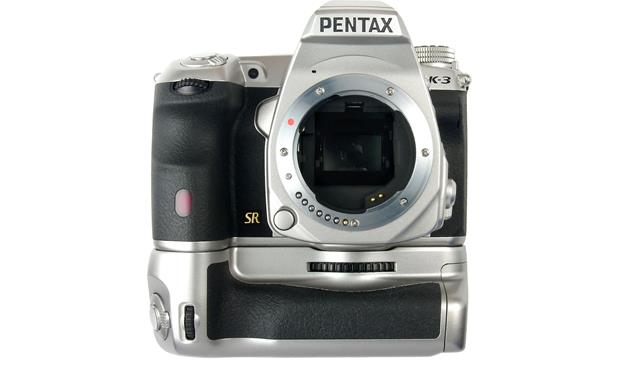 Pentax K-3 Premium Silver Edition (no lens included) Shown with silver battery grip attached