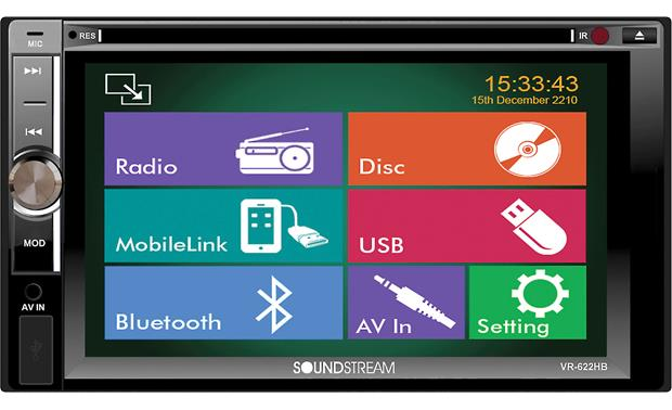 Soundstream VR-622HB Sleek touchscreen controls give you access to all your music and video