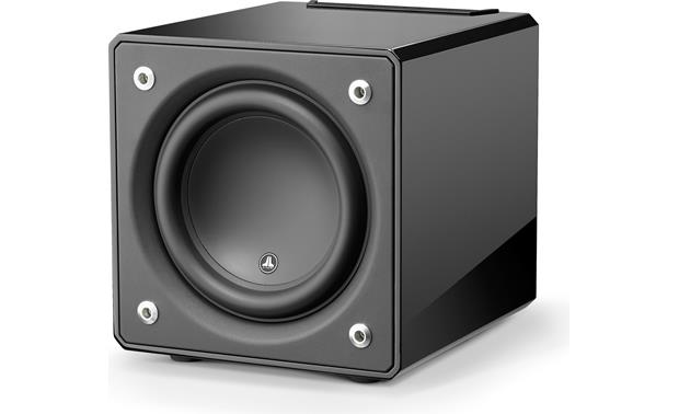 JL Audio E-Sub e110 Angled front view with grille removed