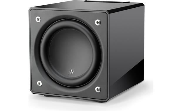 JL Audio E-Sub e112 Angled front view with grille removed
