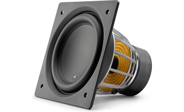 JL Audio E-Sub e110 Angled front view of driver