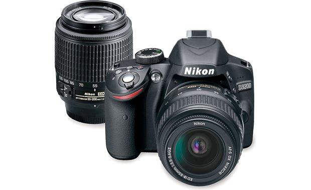 Nikon D3200 Kit with Standard Zoom and Telephoto Zoom Lenses Front