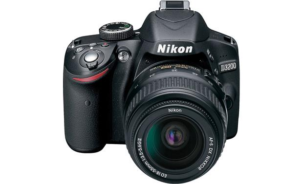 Nikon D3200 Kit with Standard Zoom and Telephoto Zoom Lenses Front with 18-55 mm lens