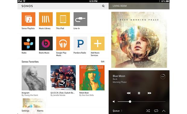 Sonos Connect:Amp The free Sonos app for tablets (iPad version shown)