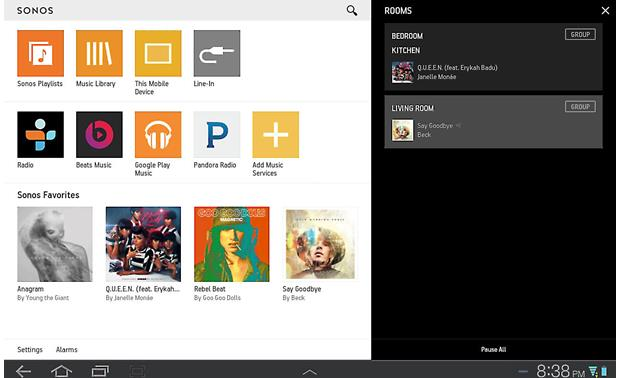 Sonos Connect The free Sonos app for tablets (Android version shown)