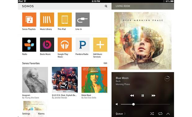 Sonos PLAY:5 The free Sonos app for tablets (iPad version shown)
