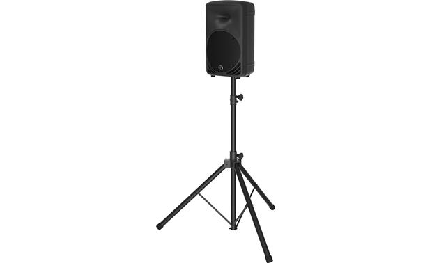 Mackie SRM350v3 Mounted on a speaker stand (sold separately)