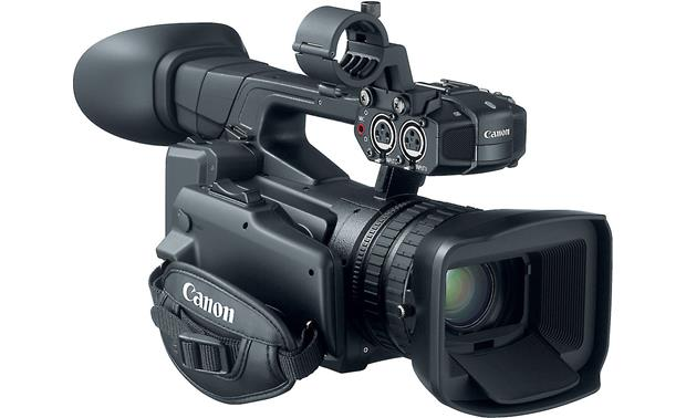 Canon XF-200 Shown with microphone holder and lens hood in place