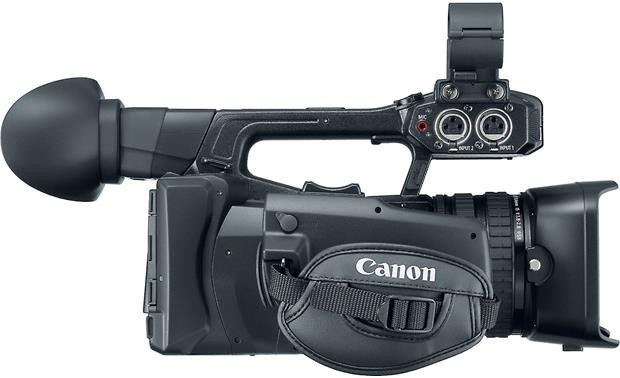 Canon XF-200 tilting hand-grip increases comfort when shooting at odd angles