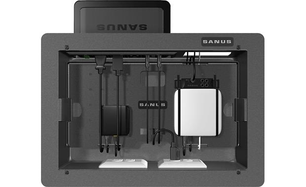 Sanus SA809 Houses smaller A/V components and holds Sanus SA206 surge protector (router, surge protector and streaming device not included)