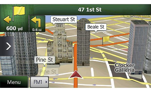 Clarion NX604 3D graphics of select buildings make finding your way in cities easier.