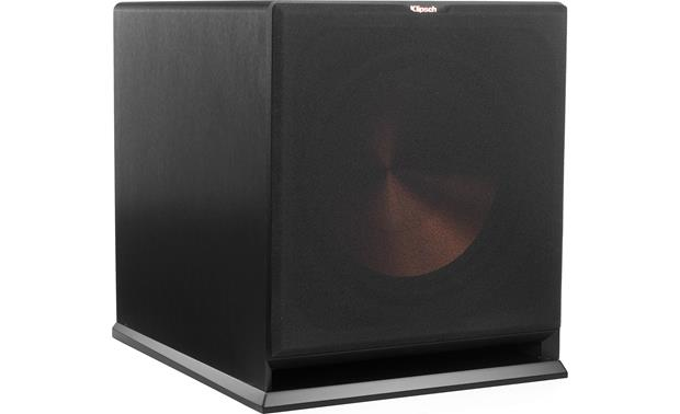 Klipsch Reference R-115SW Angled front view of sub with grille on
