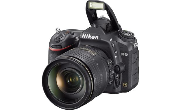 Nikon D750 Kit Front, with built-in flash deployed