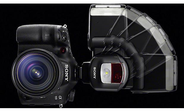 Sony HVL-F43M Flash pivots 90 degrees left and right for quick transition to vertical shooting