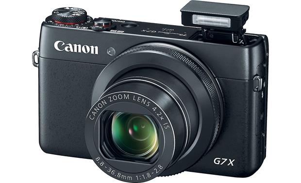 Canon PowerShot G7 X Shown with built-in flash deployed