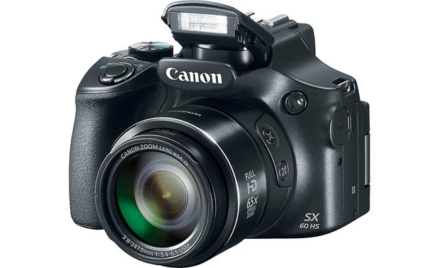 Canon PowerShot SX60 HS Shown with built-in flash deployed