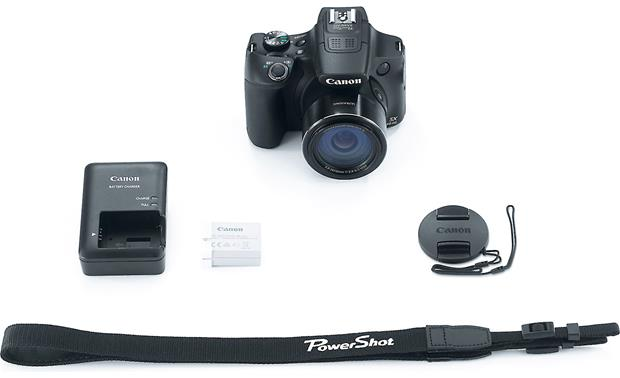 Canon PowerShot SX60 HS Shown with included accessories