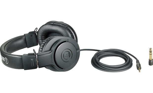 "Audio-Technica Performance Podcast Bundle Headphones shown with extra-long cable and 1/4"" adapter"