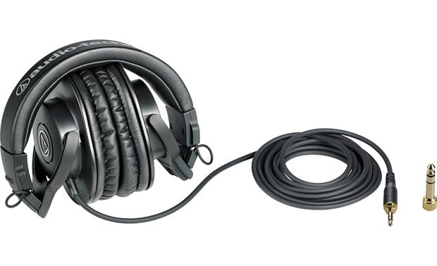 "Audio-Technica Solo Podcast Bundle Shown with extra-long cable and 1/4"" adapter"