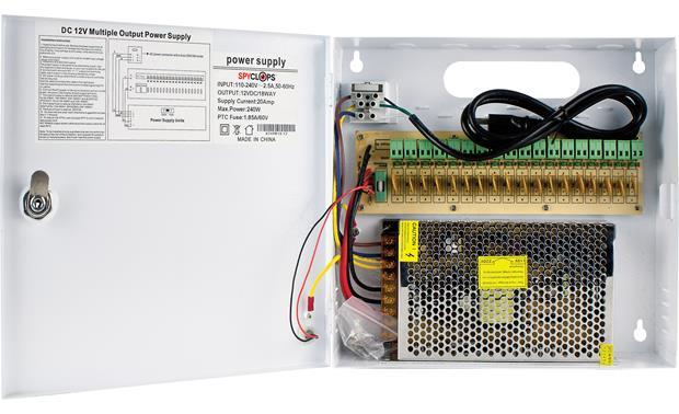 Spyclops 18-way 20-amp Power Distribution Box Controls power