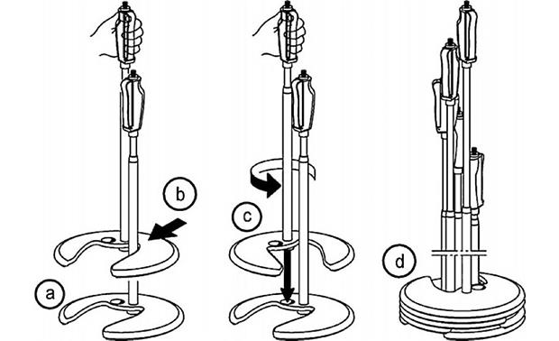 K&M Stackable Base Mic Stand Stand stacking diagram