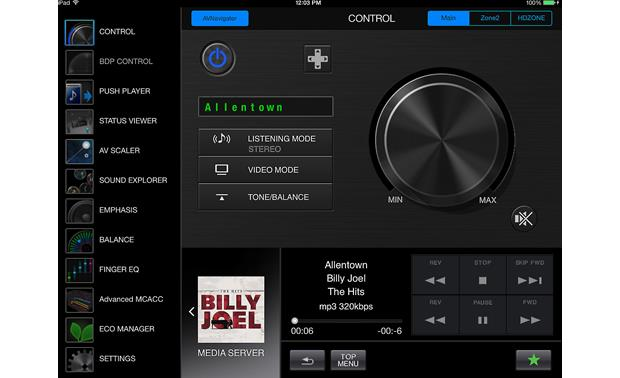 Pioneer VSX-1124 The free iControlAV5 remote app for iPad