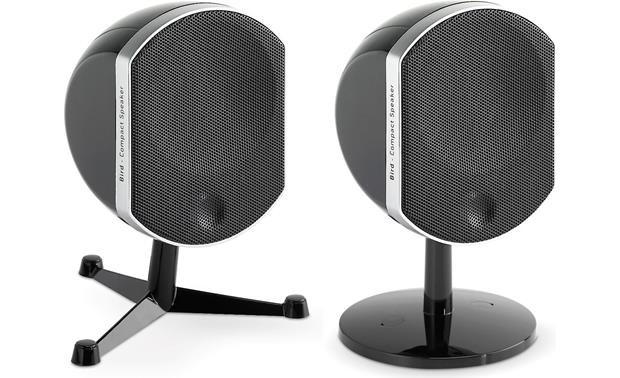 Focal Bird Black (shown with the two types of bracket/stands included for each speaker)