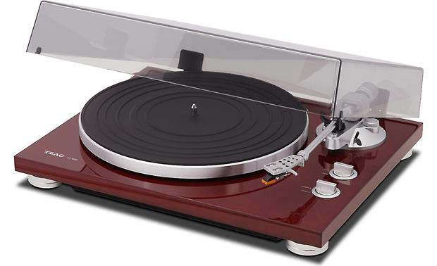 TEAC TN-300 Shown with included dust cover open (Cherry)