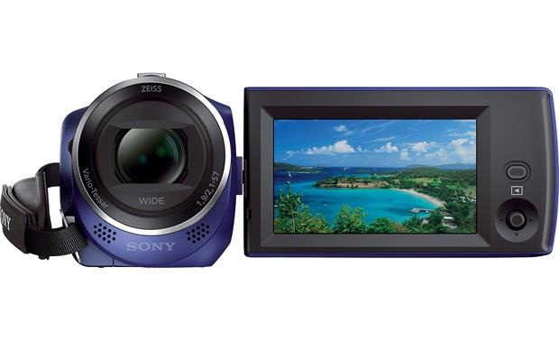 Sony Handycam® HDR-CX240 Front with viewscreen open and rotated toward user