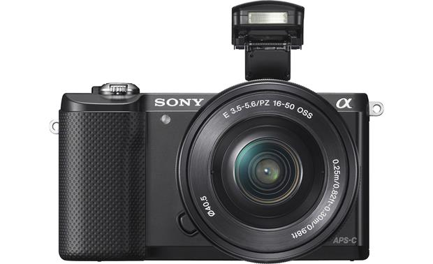 Sony Alpha a5000 Kit Front, with built-in flash deployed