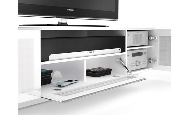 BDI NORA™ 8239 Gloss White - compartment detail (TV, components and media not included)