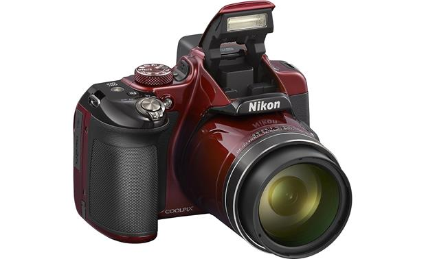 Nikon Coolpix P600 Front, with built-in flash deployed