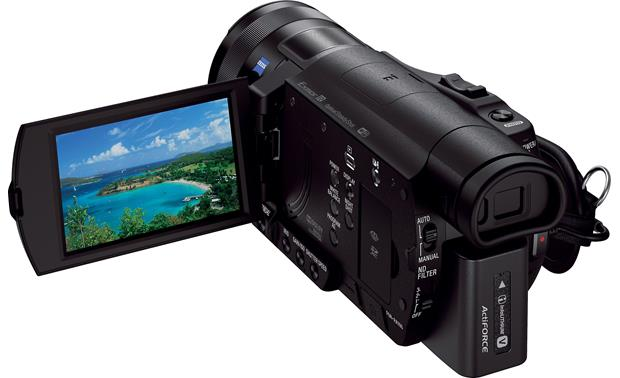 Sony Handycam® FDR-AX100 Rear view with viewscreen deployed