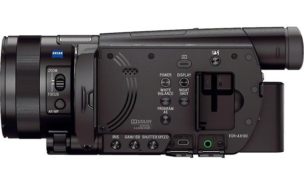 Sony Handycam® FDR-AX100 Left side view with screen open, showing controls