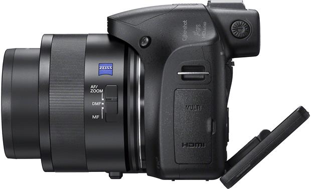 Sony Cyber-shot® DSC-HX400V Left side view with screen tilted
