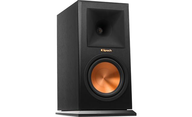 Klipsch Reference Premiere RP-160M Angled front view with grille removed (Ebony)