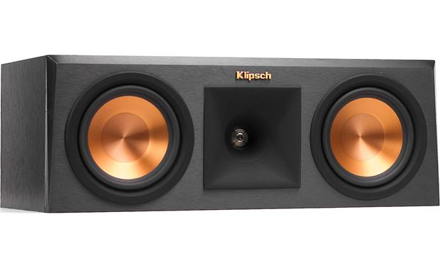 Klipsch Reference Premiere RP-250C Angled front view with grille removed (Ebony)