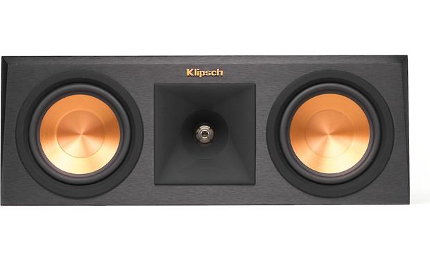 Klipsch Reference Premiere RP-250C Direct front view with grille off (Ebony)