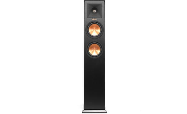 Klipsch Reference Premiere RP-250F Direct front view with grille off (Ebony)