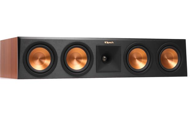 Klipsch Reference Premiere RP-450C Angled front view with grille removed (Cherry)