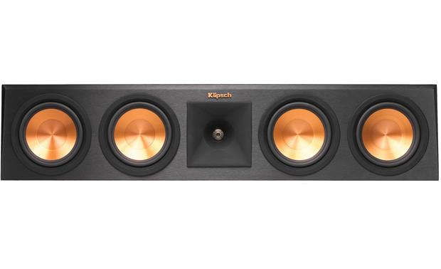 Klipsch Reference Premiere RP-450C Direct front view with grille off (Cherry)