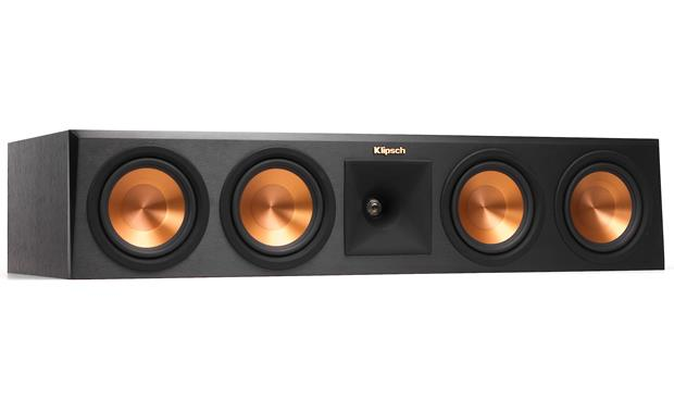 Klipsch Reference Premiere RP-450C Angled front view with grille removed (Ebony)