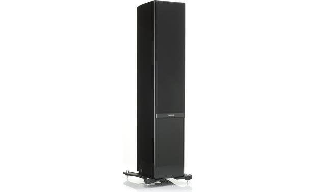 Monitor Audio Gold 300 Piano Black (shown with included magnetically attached 'floating' cloth grille, base plinths, and floor spikes)