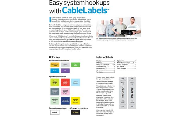 Crutchfield Audio/Video CableLabels™ Inside Cover