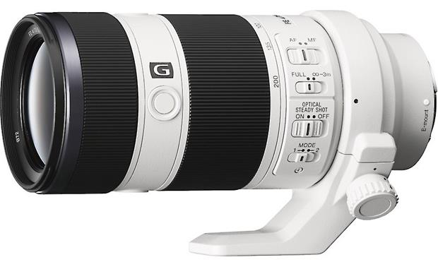 Sony SEL70200G FE 70-200mm f/4 Shown with tripod mounting collar attached