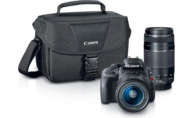 Canon SL1 Two Zoom Lens Bundle Front, with included lenses and bag