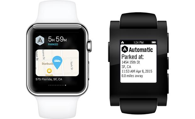 Automatic Car Adapter and Car Apps Automatic can convey information to you through your compatible smartwatch.