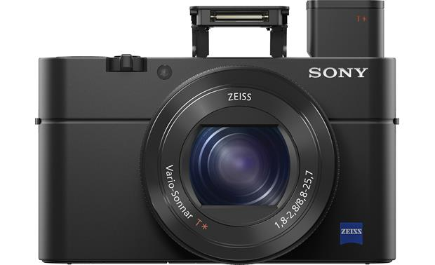 Sony Cybershot® DSC-RX100 IV Front with flash and viewfinder popped out