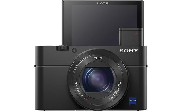 Sony Cybershot® DSC-RX100 IV Front with viewfinder popped out and LCD screen facing forward