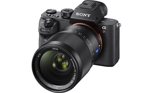 Sony Alpha a7R II (no lens included) Angled front view with lens attached (not included)